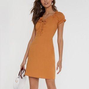 Nasty Gal Yellow mustard orange summer fall dress
